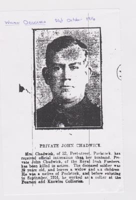 John Chadwick, Private, Royal Irish Fusiliers