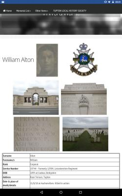 Thomas William  Alton, Corporal,10th battalion Sherwood Foresters