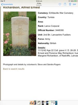 Alfred  Richardson , Lance corporal