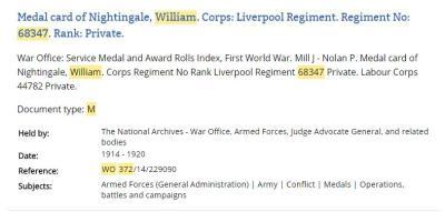 William Nightingale, Private Liverpool Regiment 68347 Private Labour Corps 44782