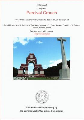 Percival Crouch, Cpl 6853 Devonshire Regiment 8th (Service) Battalion