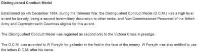 William Forsyth DCM, Gunner, Royal Garrison Artillery