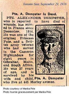 Alexander Munro Dempster, Private, Princess Pat's Canadian Light Infantry