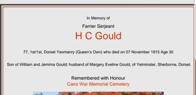 Herbert Charles  Gould, 1st/1st Dorset Yeomanry (Queens Own)