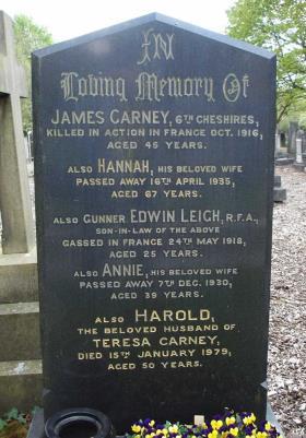 James Carney, 1st 6th Battalion Cheshire Regiment. Regimental Number 1758