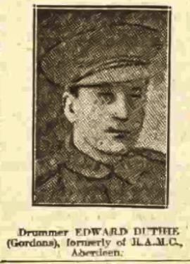 Edward Duthie, Private/Drummer, No 3291, 5 Bn Gordon Highlanders