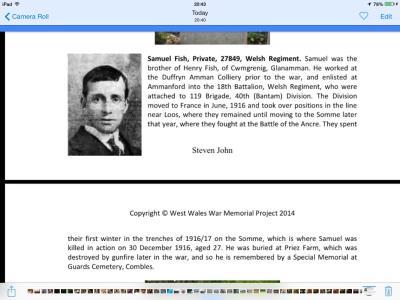 Samuel Fish, Private 27849 Welsh regiment