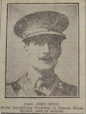 John Duff, Lieutenant, Royal Inniskilling Fuseliers