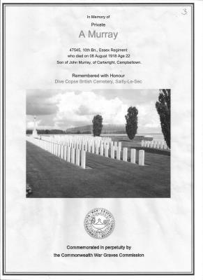 Allan Murray, 10th Bn Essex Regiment  No 47545