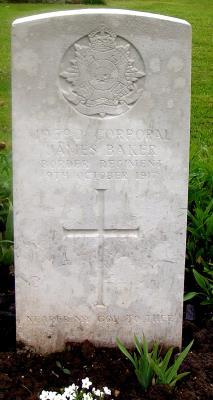 James Baker, Corporal: 2nd Border Regiment; regiment number 10590