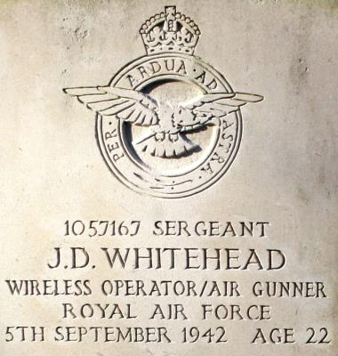 John Douglas Whitehead, Sergeant (Wireless Op./Air Gunner) 1057167. 103 Sqdn Royal Air Force Volunteer Reserve -