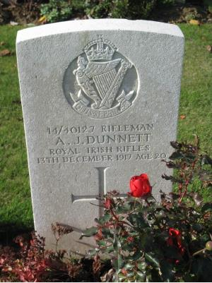 Albert Dunnett, Private,  Royal Irish Rifles