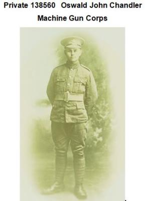 Oswald Chandler, Private in the Machine Gun Corps during WWI