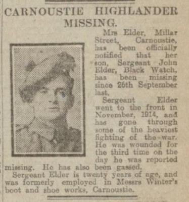John Elder, Sgt 4th/5th Battalion Royal Highlanders,Black Watch {Carnoustie)