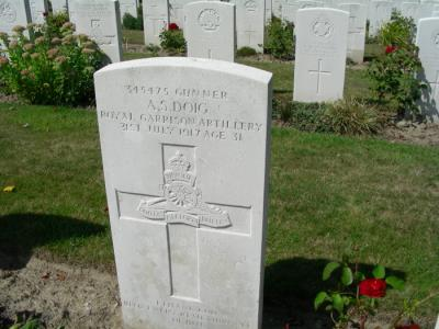 Adam Sime Doig, Gunner, Royal Garrison Artillery Battalion; 228th Seige Battery. Service No. 345475;  Killed in Acti