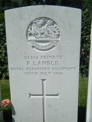 Frederick Lamble, Royal Berkshire Regiment