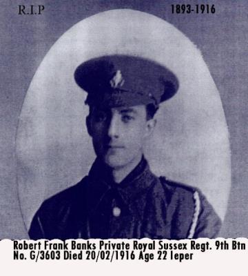 Robert Frank Banks, Private  Royal Sussex Regiment