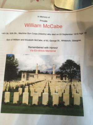 William McCabe, Private 50th Battalion