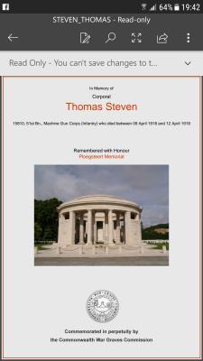 Thomas Steven, Corporal machine gun corps 51st Bt
