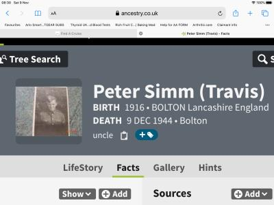 Peter Travis( Simm) , Army