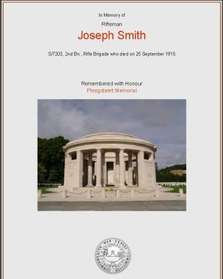 Joseph Smith, Rifleman - Rifle Brigade 2nd Battalion