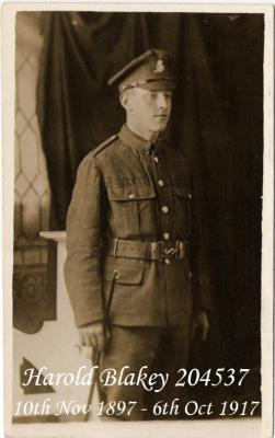Harold Blakey, Private 204537 4th Battalion Duke Of Wellingtons (West Riding Regiment)