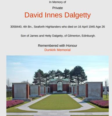 DAVID INNES DALGETTY, PRIVATE 4th BATALLION SEAFORTH HIGHLANDERS