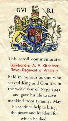 Alfred Percival Kitchener, Royal Artillery Bombadier