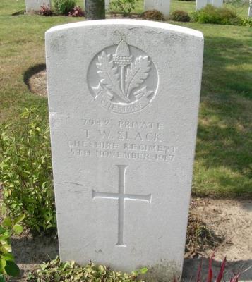 Thomas William Slack, Private: 7942. Cheshire Regiment.