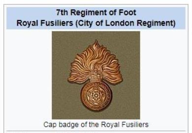 Jeremiah Leonard, 1st Bat. 7th Foot Royal Fusiliers