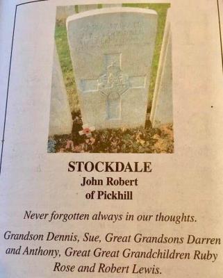 John Robert  Stockdale , 28335   9th battalion Yorkshire regiment Killed 17th March 1917