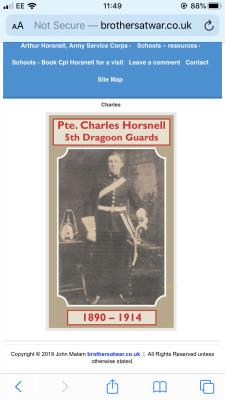 Charles Horsnell, Private 5th Dragoon Guards
