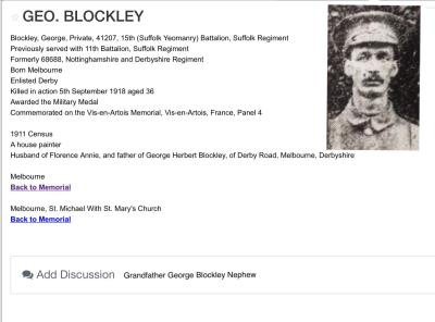 Alfred Blockley, Sherwood Foresters Nottingham Derby 2nd/5st Corporal