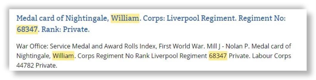 William Nightingale, WW I Private