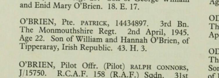 Patrick  O'Brien, 3rd Battalion Monmouthshire Regiment