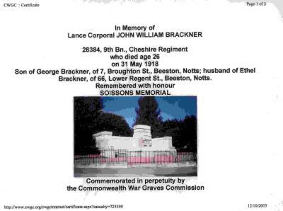 John William Brackner, L/C 28384 9th Bn.. Cheshire Regt