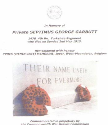 Septimus George Garbutt, 1478 Pte Of the1/4TH BATTALION Alexandra, Princess of Wales's Own YORKSHIRE REGIMENT