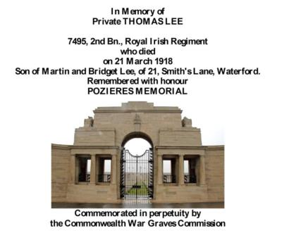 Thomas Lee, Private 7495, 2nd Bn., Royal Irish Regiment