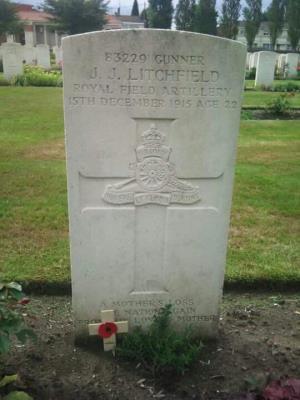 John James  Litchfield, Gunner Rioyal Field Artillery France