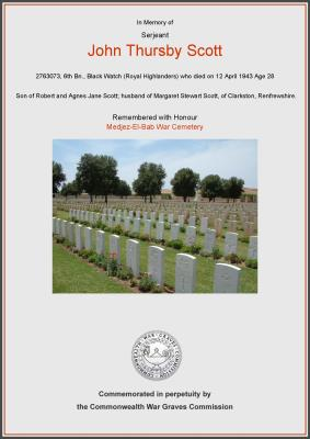 John Thursby Scott, Sjt, 6th Btn The Black Watch (Royal Highland Regiment)