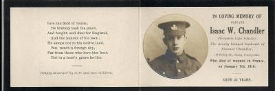 Isaac  Chandler, Private in 7th Battalion KSLI