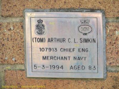 Arthur Charles Linay Simkin, Merchant Navy Service No. 188720