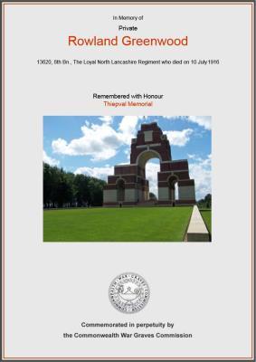 ROWLAND GREENWOOD, Pte Rowland Greenwood, 8th Btn Loyal North Lancashire Regiment.