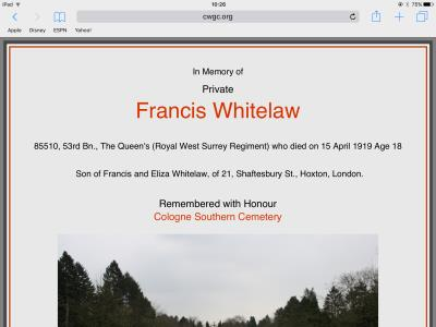 Francis Whitelaw, Private, Queens Royal West Surrey