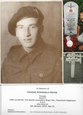 THOMAS MEYER, PRIVATE 13TH(2/4th The South Lancashire Reg) Bn PARACHUTE REGIMENT.