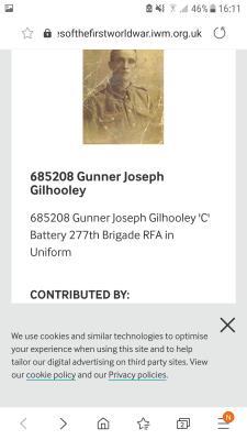 Joseph Gilhooley, Gunner