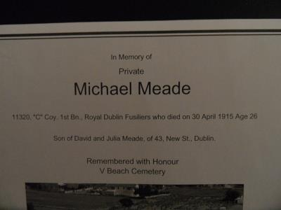 MICHAEL  MEADE, ROYAL DUBLIN FUSILIERS