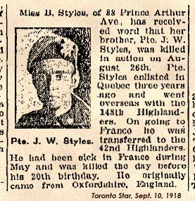James - known as William Styles, Private Styles 42nd Battalion Royal Highlanders of Canada