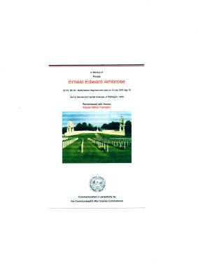 Ernest Edward Ambrose, Private 22170 6th Batallion Bedfordshire Regiment.