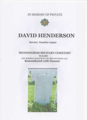 David Henderson, Private Henderson Royal Scots Army No 19990